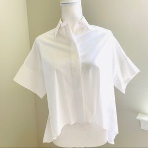 Alice + Olivia White Colored High Low Blouse SP